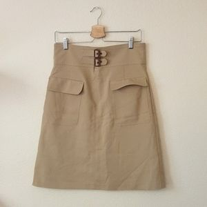 Zara Tan Buckle Front Skirt with Pockets